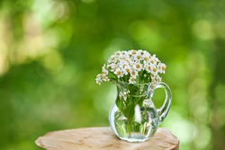 Wooden stump with achillea salicifolia flowers in a glass jug on a green sunny bokeh background.