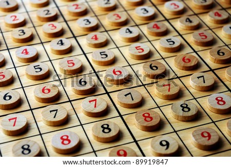 Wooden sudoku  numbers in order . Lucky concept