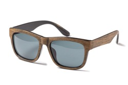 Wooden sunglasses isolated on white background