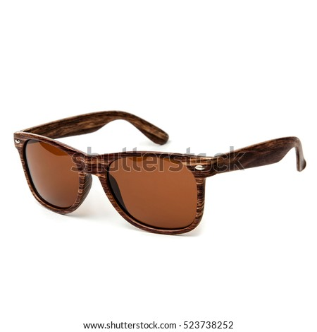 Wooden sunglasses isolated on white background in a studio shot