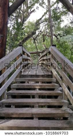 wooden suspension bridge #1018869703