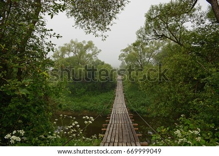 Wooden suspension bridge, Belarus #669999049