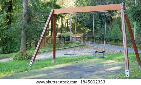 wooden swing at the playground Foto stock ©