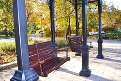 Wooden swing in the autumn park.Beautiful yellow and green foliage on the trees. Autumn landscape