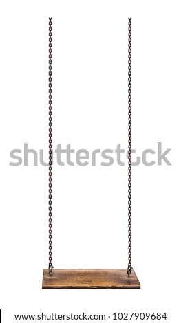 Wooden swing isolated on white background with clipping path