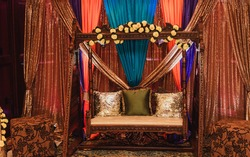 Wooden swing seat for Indian Pakistani per-wedding Sangeet stage decor