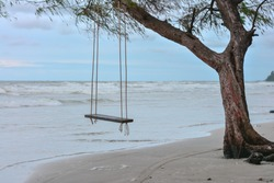 wooden swing under the tree, Beachside, swing under the shade of trees and tranquil seaside beaches, Afternoon seaside swings and the bright sea, Overcast sea, The wind blows comfortably