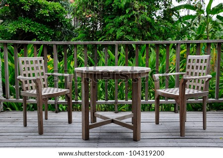 Wooden table and chair set in resort