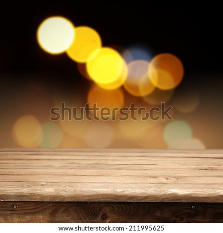 wooden table and night