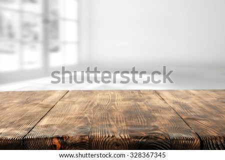 wooden table and wooden space...