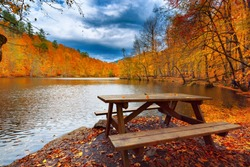 Wooden table by the lake. Wonderful autumn image. Colorful trees. Fallen yellow, red, orange, color leaves on the ground. Yedigoller, Golyazi, Bursa, Bolu, Turkey.