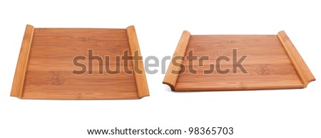 Wooden table for food on white background