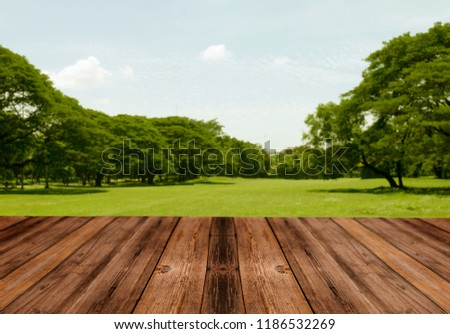Wooden table in front of blurred beautiful park background #1186532269