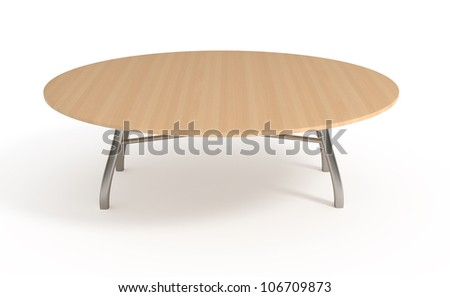 Wooden table, isolated on white, with clipping path, 3d illustration