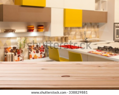 wooden table of free space and room of kitchen
