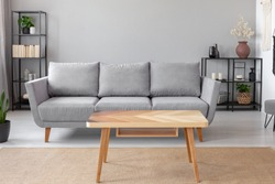 Wooden table on carpet in front of grey sofa in minimal living room interior with plant. Real photo