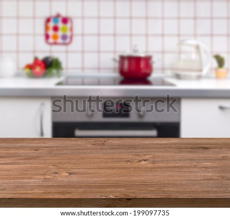 Wooden Table On Kitchen Bench Background Stock Photo 199097735