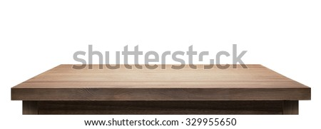 Wooden table top on white background. #329955650