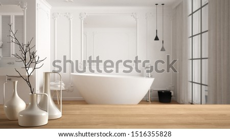 Wooden table top or shelf with minimalistic modern vases over blurred minimal luxury bathroom with panoramic window, carpet and bathtub, minimalist architecture interior design, 3d illustration