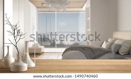 Wooden table top or shelf with minimalistic modern vases over blurred modernbedroom with big panoramic window, shower and parquet floor, minimalist architecture interior design, 3d illustration