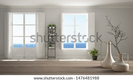 Wooden table top or shelf with minimalistic modern vases over blurred stylish empty room with panoramic windows and parquet floor, minimalist architecture interior design, 3d illustration