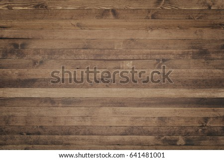 Wooden table top view rustic style. Natural wooden planks. #641481001