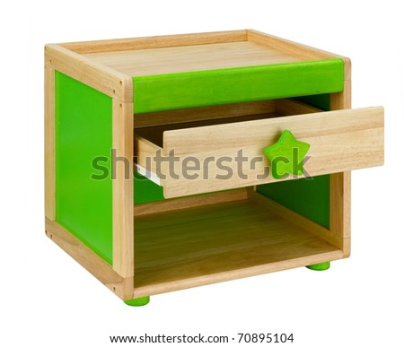Wooden table with drawer for little kid an image isolated on white