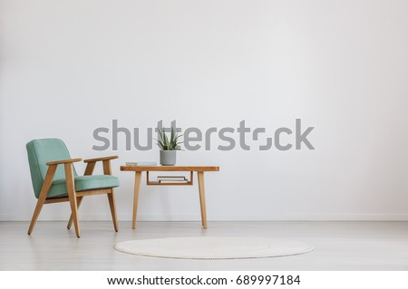 Wooden table with fresh plant and book in a room with round carpet