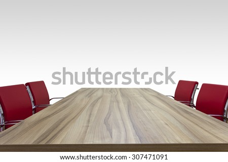 wooden table with red chairs isolated background