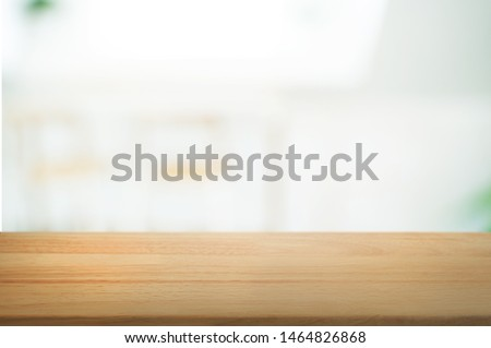 Wooden tabletop in front of montage blur restaurant cafe or kitchen background. #1464826868