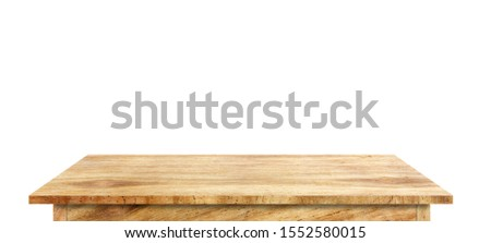 Wooden tabletop isolated on white background Empty rustic wood table,For montage product display or design key visual layout.with clipping path #1552580015