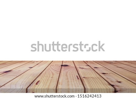 Wooden tabletop on white background. Empty rustic wood table.  #1516242413