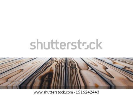 Wooden tabletop on white background. Empty rustic wood table.  #1516242443
