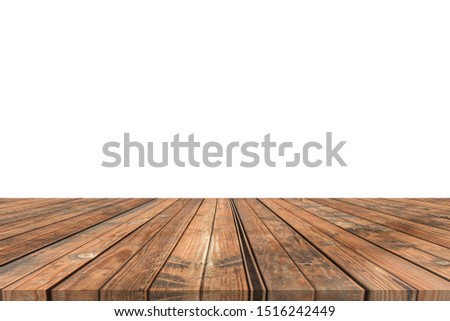 Wooden tabletop on white background. Empty rustic wood table.  #1516242449