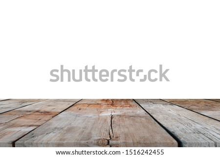 Wooden tabletop on white background. Empty rustic wood table.  #1516242455