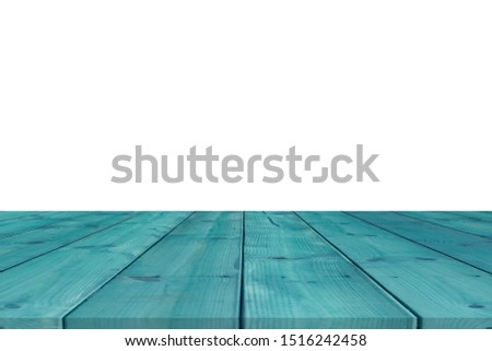 Wooden tabletop on white background. Empty rustic wood table.  #1516242458