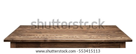 Wooden tabletop on white background. Empty rustic wood table. #553415113