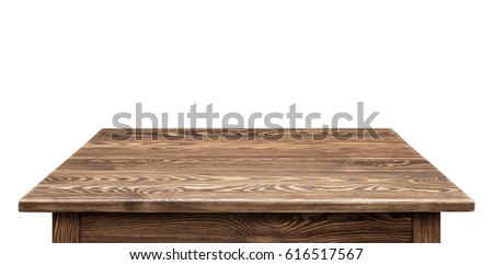 Wooden tabletop on white background. Empty rustic wood table. #616517567