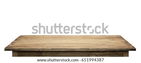 Wooden tabletop on white background. Empty rustic wood table. #651994387