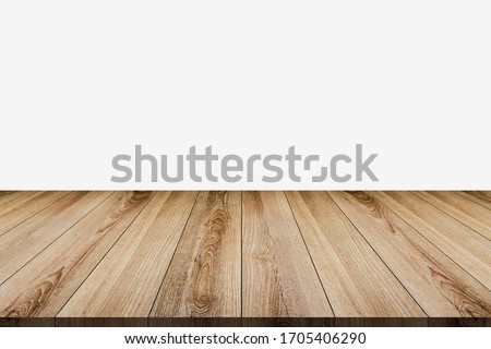 Wooden tabletop template mockup for display merchandise ,wooden shelf table isolated on grey background