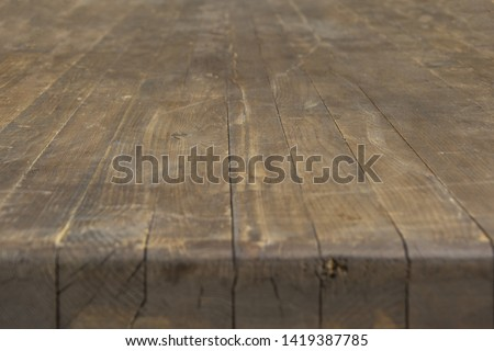 Wooden tabletop with a thick tabletop in perspective #1419387785