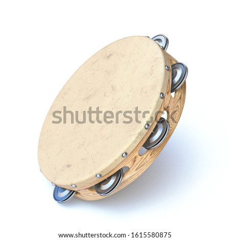 Wooden tambourine 3D render illustration isolated on white background Stock photo ©