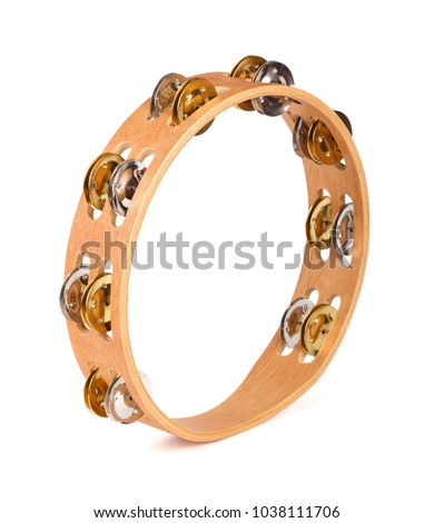 Wooden tambourine isolated on a white background Stock photo ©