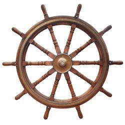 Wooden ten-spoke ship steering wheel isolated on white.