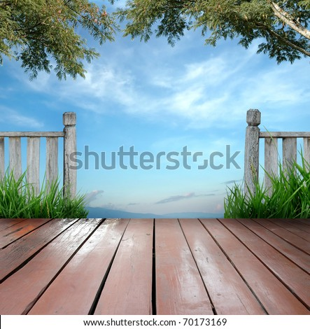 wooden terrace and blue sky