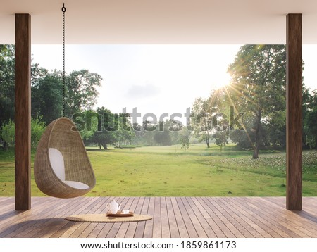 Wooden terrace with morning garden view 3d render, There are wooden floor,Decorate with rattan egg shaped chair,looking out over the large lawn.