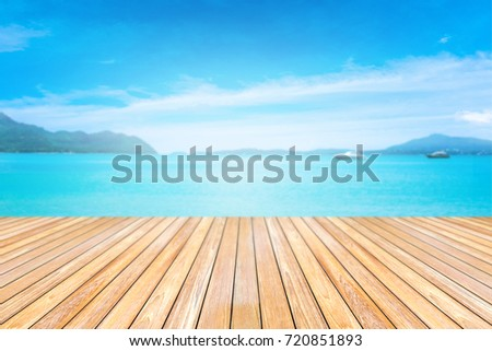 Nice Wooden Terrace With Sand Beach And Tropical Sea. #720851893