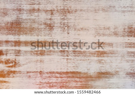 Wooden texture background with rustical white pattern from paint in vintage style. Backdrop for text or design with copy space.
