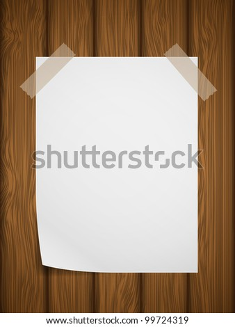 Wooden texture with note paper. Illustration.