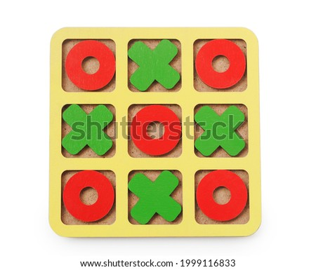 Wooden tic tac toe isolated on white background top view Foto stock ©